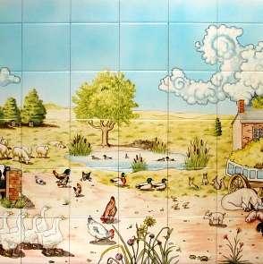 Aga panel - farmyard scene