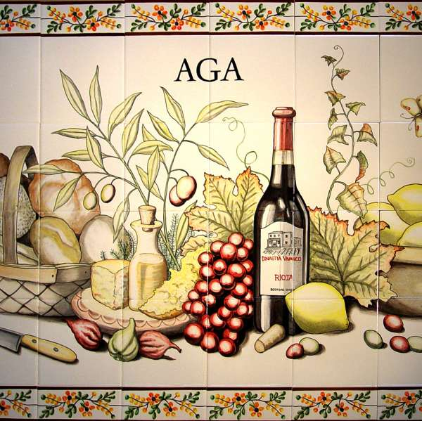 Aga Panel on hand painted tiles