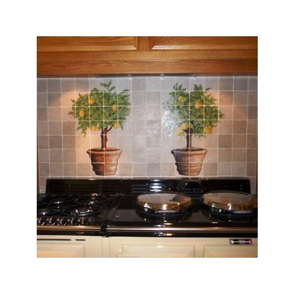 Aga panel - lemon trees on hand painted tiles