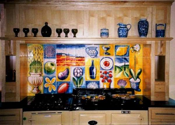 Aga tile panel or mural - fabric design