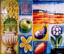 Aga tile panel or mural - fabric design on hand painted tiles