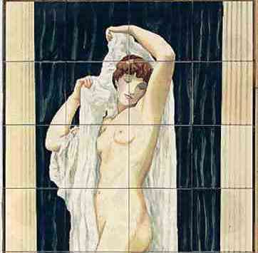 Classical - Bath of Psyche on hand painted tiles