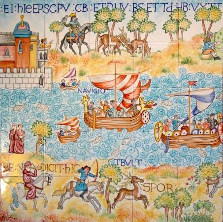 Bayeux Tapestry Panel on hand made tiles