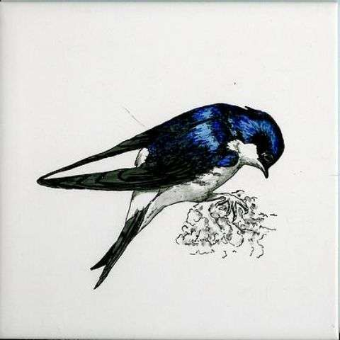 Bird 1 on hand painted tiles