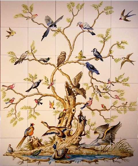 Bird Tree on hand painted tiles
