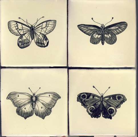Butterflies on hand made tiles