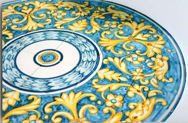 Portuguese style tile table on hand painted tiles
