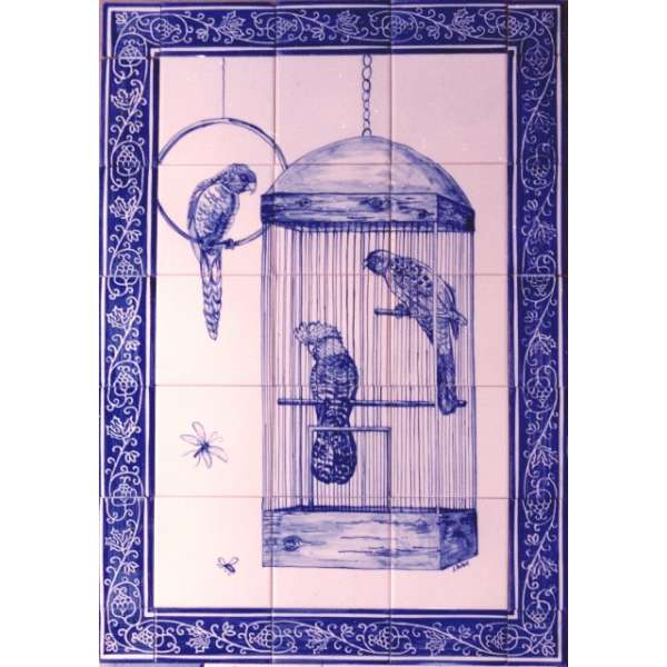 Blue parrots in cage