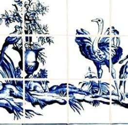 Toile de Jouy - blue and white with border on hand painted tiles