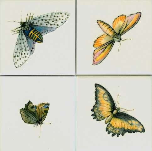 Butterflies and moths on hand painted tiles