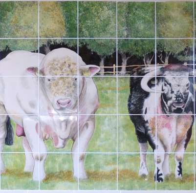 Cattle Panel with moulded border on hand painted tiles