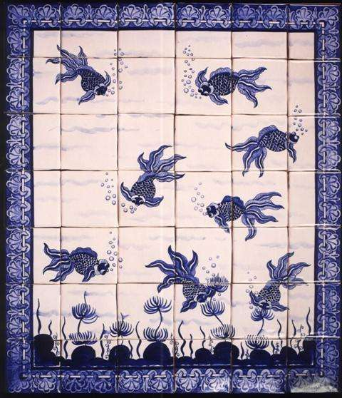 Fish panel - Chinese on hand made tiles