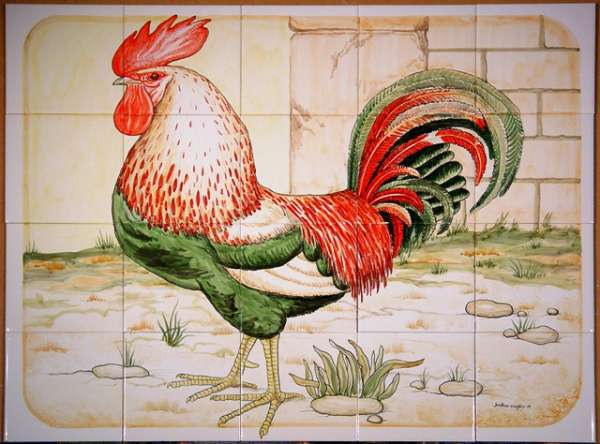 Chickens, hens, roosters and cockerels 9 on hand painted tiles
