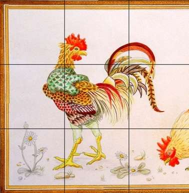 Chickens, hens, roosters and cockerels 12 on hand painted tiles