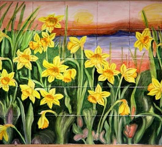 Daffodils at sunset