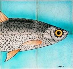 Fish panel 4 on hand painted tiles