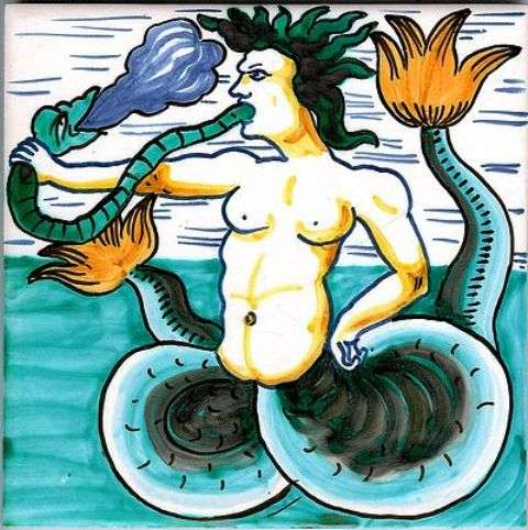Delft merman 1 on hand painted tiles