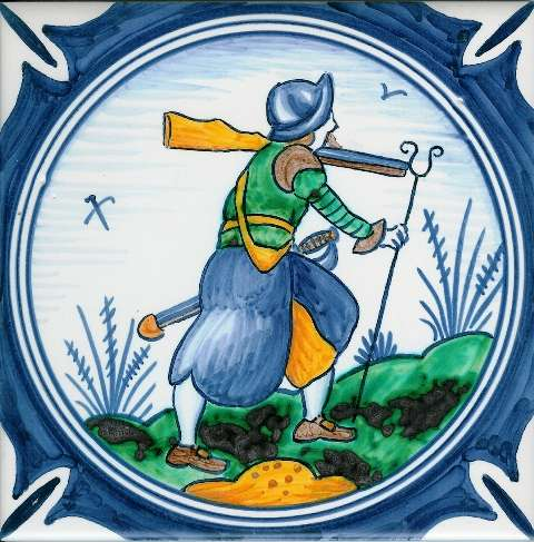 Delft soldier 1 on hand painted tiles