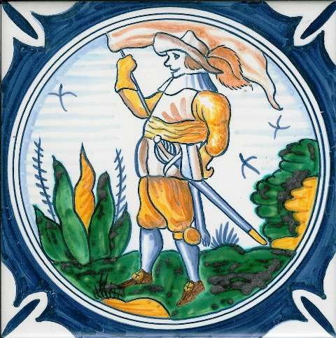 Delft soldier 2 on hand painted tiles