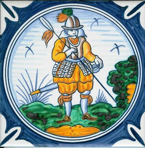 Delft soldier 3 on hand painted tiles