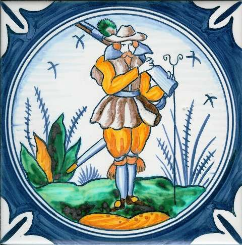 Delft soldier 6 on hand painted tiles