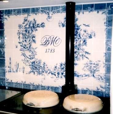 Delft tiles over range cooker