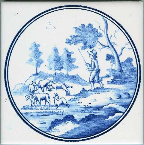Blue Delft tile - circle 2