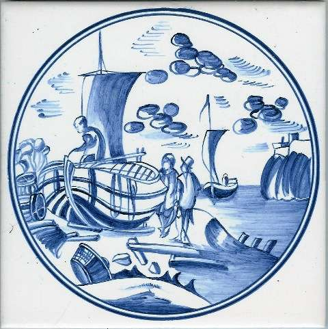 Blue Delft tile - circle 3