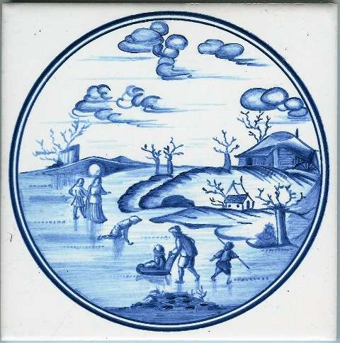 Blue Delft tile - circle 4