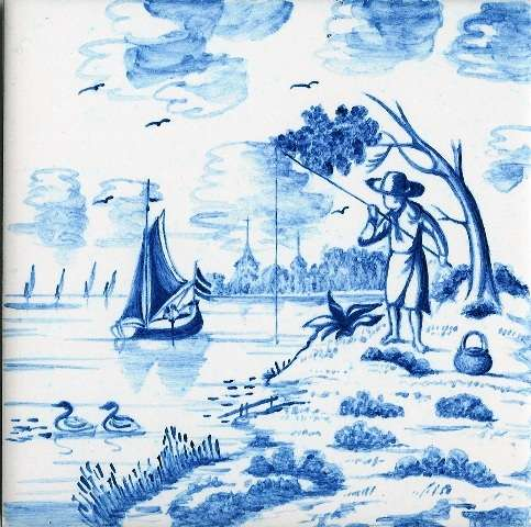 Delft tile - landscape 6 on hand painted tiles