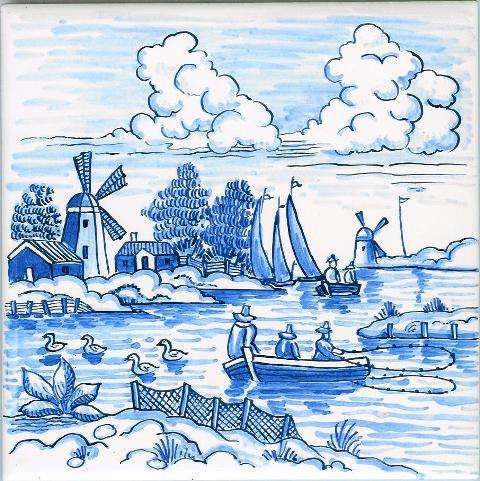 Delft tile - landscape 7 on hand painted tiles