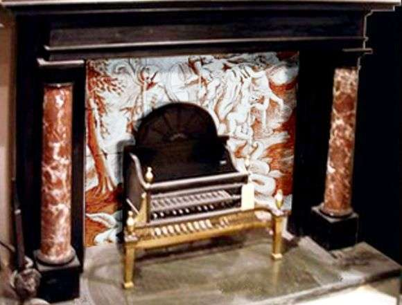 fireplace with sepia back panel art on tiles hand. Black Bedroom Furniture Sets. Home Design Ideas