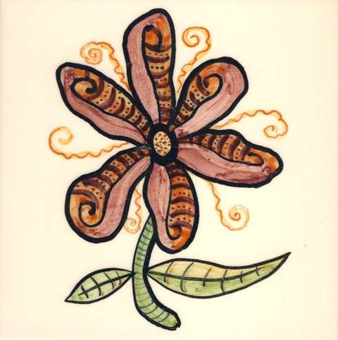 Funky Flowers on hand painted tiles 12