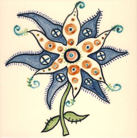 Funky Flowers on hand painted tiles - 5