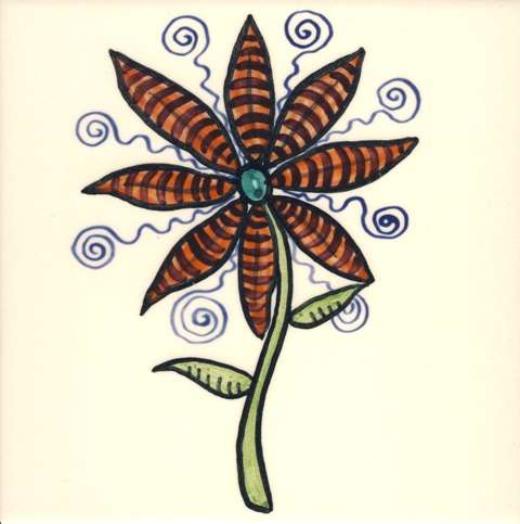 Funky Flowers on hand painted tiles - 6