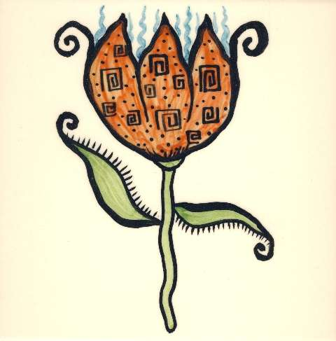 Funky Flowers on hand painted tiles - 7