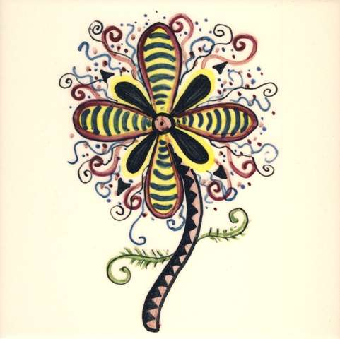 Funky Flowers on hand painted tiles - 9