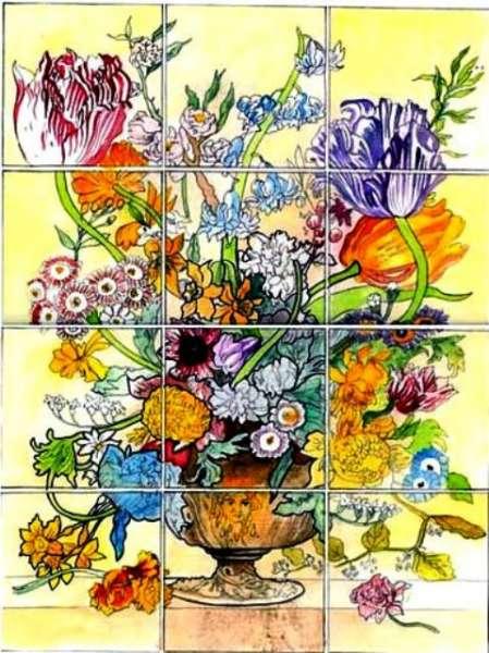 Portuguese flower panel