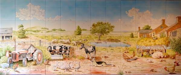 Farmyard tile mural