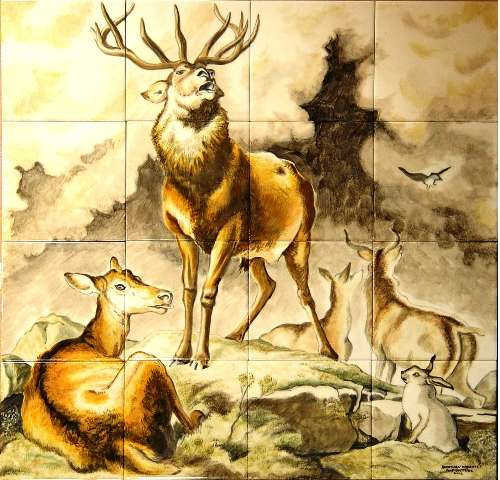 Landseer Stag and Does on hand painted tiles