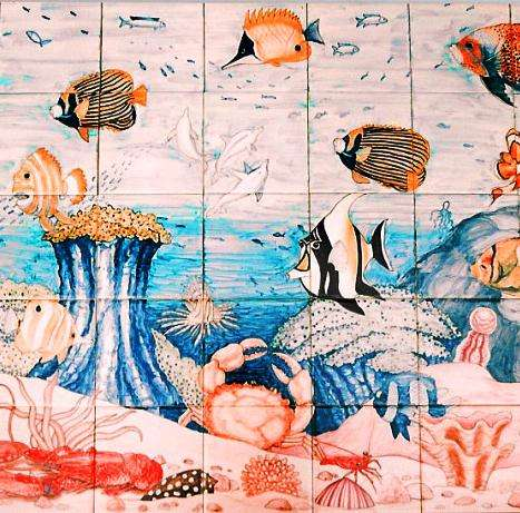 Marine life on hand painted tiles