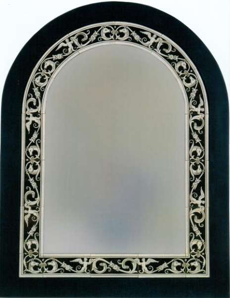 Mirror with borders on hand painted tiles