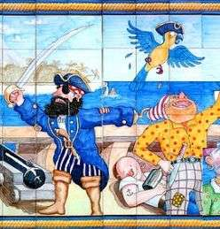 Pirates on hand painted tiles