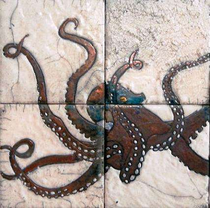 Marine - octopus on hand painted tiles