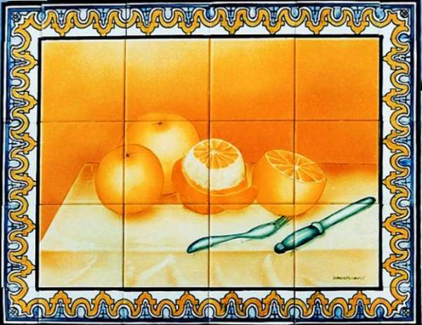 Oranges still life with borders