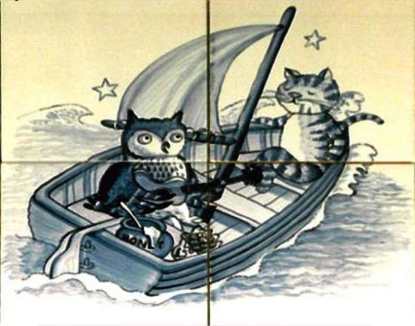 Owl and pussycat - blue and white