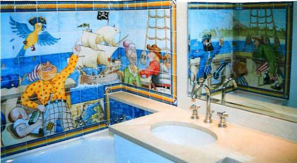 A fun children's design for hand painted tiles in bathrooms.