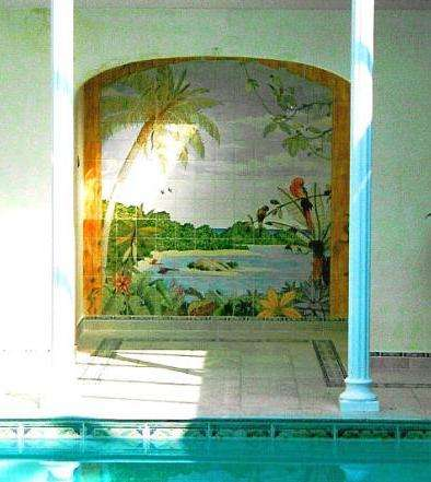 Jungle scene on hand painted tiles