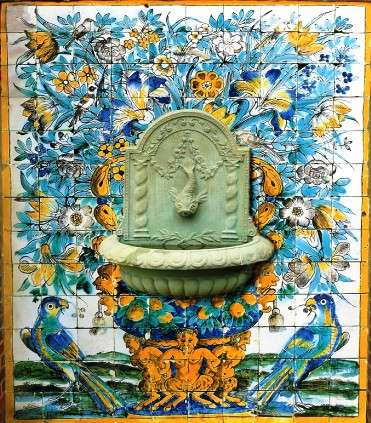 Portuguese fountain panel 2 on hand painted tiles