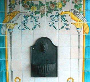 Portuguese fountain panel on hand painted tiles